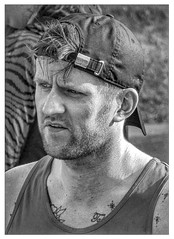 The Will Of This Heart 27 (lightandform) Tags: men masculinity rough rugged strong brave hard determined black white monochrome powerfull runners bw alpha race compete man energy challenge portrait tension face close hero