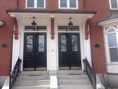 227 and 229 Cumberland Avenue (Bracketed Hoods) Tags: 2015 227cumberlandavenue 229cumberlandavenue cumberlandavenue portlandmaine acanthus floral triangles doubledoors transomwindow twindoorways bracketedhoods