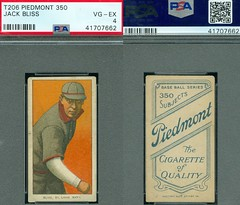 1909-11 / T206 White Border - JACK BLISS (Catcher) - St. Louis Cardinals (PSA Certified) (1910 / Piedmont 350 / Factory 25 Back) Tobacco / Cigarette Baseball Card (#43) (Treasures from the Past) Tags: t206 tobaccocard tobacco 1909 1911 cigarette cigarettecard americantobaccocompany whiteborder whiteborderset baseballcard lithograph whiteborderbaseballset t206baseballset jackbliss stlouiscardinals catcher