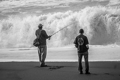 Never turn your back on Ocean (Rvs1966) Tags: lightroom sonya6000 outdoor explored inexplore people waves water california blackandwhitephotography streetphotography beach ocean