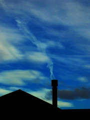 Giving Up Smoking (Steve Taylor (Photography)) Tags: smoke chimney architecture digitalart house roof blue black white newzealand nz southisland canterbury christchurch northnewbrighton texture silhouette cloud sky