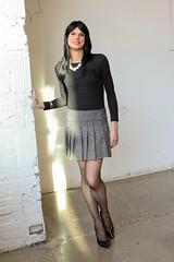 Black bodysuit and skirt 6 (Hannah McKnight) Tags: tgirl transgender transgirl model crossdress crossdresser stilettos bodysuit pleatedskirt stockings