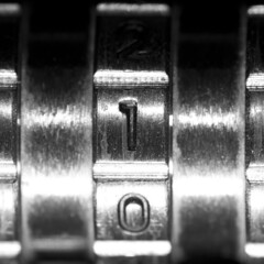 Back to square one (Ghazghul) Tags: centersquarebw macromonday macromondays bw blackwhite blackandwhite macro nikon d300s sigma sb800 sigma105mmf28exdg 105mmf28exdg lock combination square metal brass
