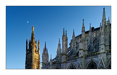 Virgin's moon (Jean-Louis DUMAS) Tags: moon lune vierge bordeaux clocher cathédrale ciel bleu blue statue viergemarie tour monument