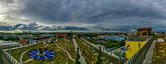 Heaven 7 (MAKER Photography) Tags: panorma haven 7 munich germany clouds sky skyline city grass bush car gas station petrol house garden statue path