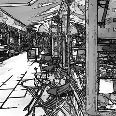 the small street cafe (bw) (j.p.yef) Tags: peterfey jpyef yef monochrome bw sw squad photomanipulation iphone digitalart street cafe tables chairs germany hamburg windows