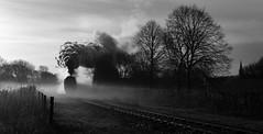 Wells in Monochrome (garstangpost.t21) Tags: mist ramsbottom blackandwhite monochrome 34092 cityofwells steam steamlocomotive lancashire bullied westcountry buryboltonstreet rawtenstall elr eastlancashirerailway flickrunitedaward