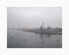 Daugava River, Riga 2018 (Karl Gunnarsson) Tags: g80 panasonic20mmf17 daugavariver riga latvia docks boats fishingboats fog cranes