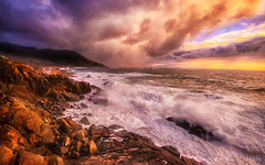 Big Sur Elements (philipleemiller) Tags: bigsur pacificcoast sunset rain boulders rocks stormfront waves california d800