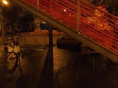 Fahrradständer (Stine_9) Tags: leipzig sachsen saxony feinkostgelände schatten shadow licht light dämmerung geländer treppe stairs fahrrad bicycle red rot