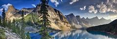 10 Peaks Panorama in the smoke (John Andersen (JPAndersen images)) Tags: banff borderfx canon morainelake park summer