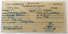 I_Fahrkarte_Pyuntaza-Madauk (florian_grupp) Tags: asia myanmar burma train railway railroad yangon rangoon myanmarailways southeast metergauge metregauge 1000mm diesel locomotive ticket foreigner