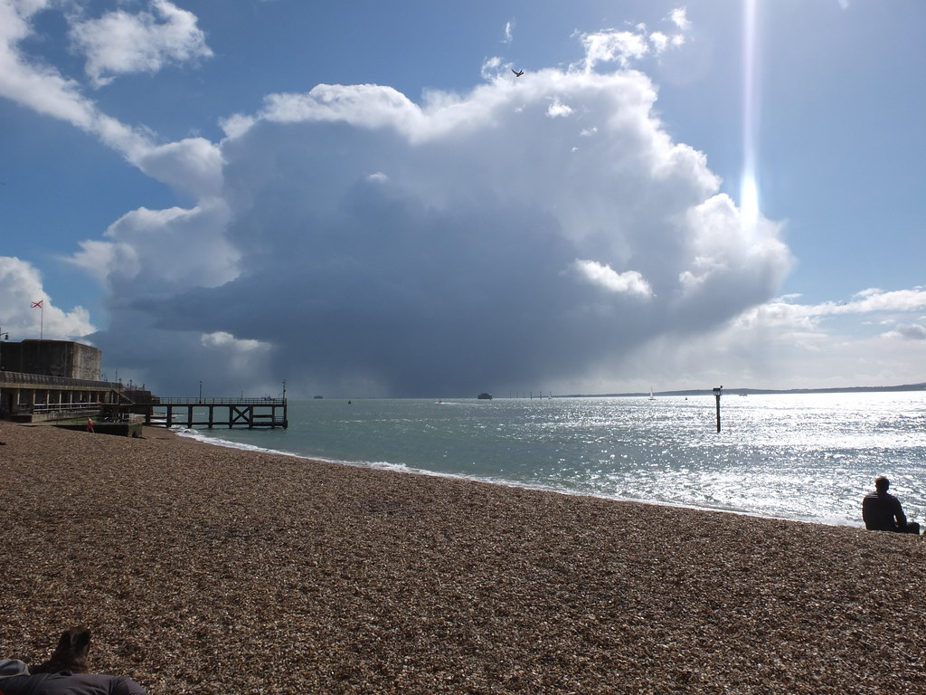 Southsea, rain on the Isle of Wight.
