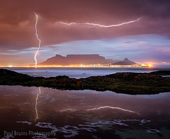 Striking Cape Town (Panorama Paul) Tags: paulbruinsphotography wwwpaulbruinscoza southafrica westerncape capetown tablemountain blaauwbergbeach sunset lightning storm nikond800 nikkorlenses nikfilters