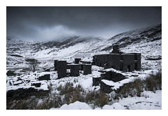 Cwmorthin Quarry - January 18th (Edd Allen) Tags: mountain northwales wales clouds dinorwig landscape mountainscape atmosphere atmospheric sunrise nikond810 serene bucolic uk cwmorthin quarry slate snow lake ice reeds frozen zeissdistagon18mm