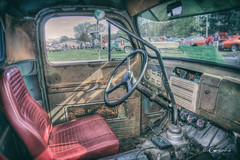 Bucket Seat (* Gemini-6 * (on&off)) Tags: carshow ford truck rust patina interior wheel dashboard hdr window transportation vehicle hss