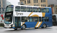 Tyrers Coaches, Adlington LX11CVU with a Rail Replacement service at Manchester Victoria. (Gobbiner) Tags: b9tl eclipsegemini wvl394 tyrerscoaches volvo wrightbus londoncentral lx11cvu adlington manchester railreplacement goahead