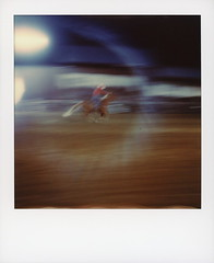 Barrel Racing 1 (tobysx70) Tags: polaroid originals color 600 instant film slr680 barrel racing high country stampede rodeo county road 73 fraser colorado co cowgirl horse rider galloping motion blur halo floodlights night nocturnal polaradoone polarado 072118 toby hancock photography