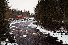 Red House By The River (k009034) Tags: 500px wooden copy space day europe finland scandinavia tranquil scene building coldness flow frost house ice nature no people nordic countries north old red river sky snow trees water waves white winter teamcanon copyspace tranquilscene nopeople nordiccountries