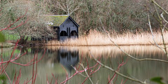 Loe Pool Boathouse (Andrew Hocking Photography) Tags: loepool boathouse theloe loe helston landscape winter nye cokin water lake pool pond reflection trees longexposure hut shed old building watersedge cornwall england uk gb