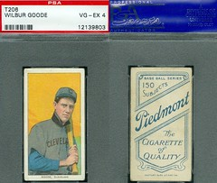 1909-11 / T206 White Border - WILBUR GOODE (GOOD) (Outfielder) - Cleveland Indians (PSA Certified) (1909 / Piedmont 150 / 25 Back) Tobacco / Cigarette Baseball Card (#184) (Treasures from the Past) Tags: t206 tobaccocard tobacco 1909 1911 cigarette cigarettecard americantobaccocompany whiteborder whiteborderset baseballcard lithograph whiteborderbaseballset t206baseballset wilburgoode wilburgood outfielder psacertified piedmont150