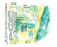 Dunwich map illustration (Sharon Farrow) Tags: dunwich map mapillustration handdrawn handdrawntype handdrawnmap mixedmedia pencil penguin colouredpencil paint acrylic watercolour plants sea sand coast suffolk suffolkcoast sharonfarrow illustration illustrator bells church waves pattern decorative type