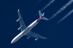 Eurowings Airbus A340-313 OO-SCX (Thames Air) Tags: eurowings airbus a340313 ooscx contrail telescope dobsonian contrails overhead vapour trail