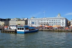 Helsinki, Finland (Seventh Heaven Photography *) Tags: helsinki sweden city nikon d3200 water buildings architecture boat market square canopy stalls sellers traders blue sky