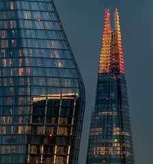Golden Shard (Aleem Yousaf) Tags: building architecture skyscraper tower windows sky glass visibility golden hour steel no1blackfriars evening london exposure focal length telephoto 200500mm light blue tones cool warm reflections glow shadows downtown skyline city cityscape hotel december roof style camera digital me nikon nikkor d810 window people commercial residential shard christmas crimbo show xmas icon landmark decoration event design flickr photography walk waterloo bridge details longexposure blackfriars