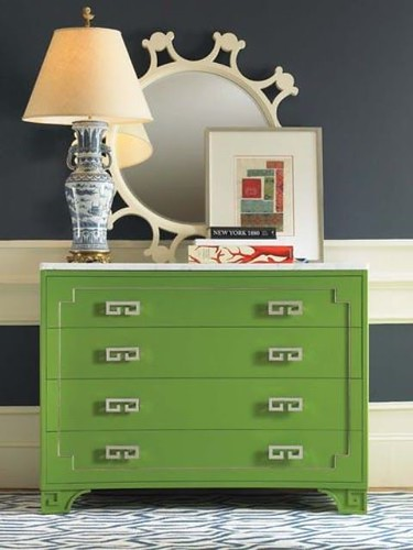 Furniture  - Entryway : combo of green dresser & navy/white walls