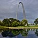 A Pond with Reflections, Trees and a Gateway Arch (Gateway Arch National Park)
