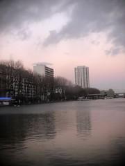 Dusk is setting over Bassin de La Villette (marc.barrot) Tags: dusk urbanlandscape canal paris 75019 quaidelaseine bassindelavillette