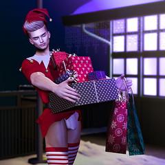 Santa's Helper (Satuex Resident) Tags: noche santaclaus papanoel helper socks foxcity pose gifts station oldstation santashelper angelking angel mesh bento male guy sexy dude gay boy secondlife sl virtusl