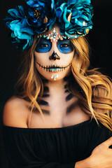 El Dia de Los Muertos (Abigail Gorden) Tags: makeup makeupartist mua hair halloween halloweenlook halloweenmakeup eldiadelosmuertos dayofthedeadmakeup dayofthedead skull bones flowers flower blue portrait portraiture photoshoot girl la losangeles creative inspired