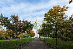 Cathedral under the blue sky. (fedoseenko) Tags: санктпетербург россия красота colour природа beauty blissful loveliness beautiful saintpetersburg sunny art shine dazzling light russia day green park peace garden blue white голубой небо лазурный color sky pretty sun пейзаж landscape clouds view heaven mood summer serene golden gold gate colours picture hall road tree grass nature alley history trees tsar stairway walkway field autumn outdoors old d800 wood cathedral church cupola holy orthodox path religion building foliage 1735mmf28d