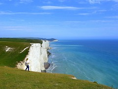 walk on cliffs (majka44) Tags: girl people blue england sevensisters view green light day walk travel landscape cliff