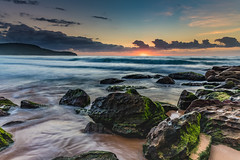 Glow on the Horizon Sunrise Seascape (Merrillie) Tags: daybreak sunrise cloudy australia nsw centralcoast clouds sea newsouthwales rocks earlymorning morning water landscape ocean nature sky waterscape coastal seascape outdoors killcarebeach dawn coast killcare waves