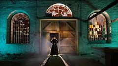 A dramatic entrance (palateth) Tags: lightpainting lightart night nophotoshop singleexposure urbex abandonnedplace backlight industrial