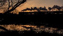 92214 nr Quorn (Peter Leigh50) Tags: great gcr gala central railway quorn steam sky railroad rail rural reflection stream brook landscape locomotive train track tree silhouette fujifilm fuji xt2
