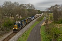 CSX Q581 at North Kingston (travisnewman100) Tags: csx train railroad freight emd locomotive standard cab sd502 sd403 kingston georgia atlanta division wa subdivision owa 584 overpass manifest