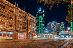 Early Morning on Lamar Street (tquist24) Tags: dallas hdr lamarstreet nikon nikond5300 outdoor texas architecture city cityscape geotagged light lights longexposure night sky skyscrapers starburst street window windows trafficlight
