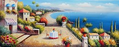 Tavolo Sulla Terrazza, Art Painting / Oil Painting For Sale - Arteet™ (arteetgallery) Tags: arteet oil paintings canvas art artwork fine arts travel sky summer landscape building sea water europe city ancient vacation town old sun house history scenic panorama cityscape famous sunny culture beach scenery coast clouds day buildings outdoor coastline hill holiday reflection stone religion cloud shore landscapes cities coasts flesh blue paint