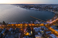 Early Bird (Matt Champlin) Tags: aerialphotography aeril dronephotography drone drones dji djiphantom4 phantom4pro skaneateleslake skaneateles christmas holiday holidays snow cold twilight morning sunrise tree life lake flx festive village usa ny 2018 beautiful quiet calm tranquil