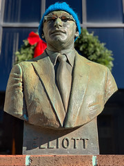 Citizen Elliott (Roblawol) Tags: blue bust citizen hat lightblue memorial memory nh nashua newengland newhampshire pennies publicart statue streetart unitedstates