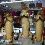 Crocodile bags for sale at Wat Rong Khun near Chiang Rai (Northern Thailand 2018) thumbnail
