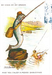 18 Mere5oh (Rocky's Postcards) Tags: illustration holiday xmas postcard greeting ralphrowland mere5oh fishing fish fisherman byhookorbycrook christmas
