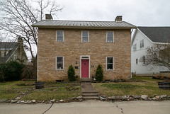 Eliud Sells House — Dublin, Ohio (Pythaglio) Tags: house dwelling residence stone limestone threebay twostory ihouse hallandparlor dublin ohio franklincounty 11windows chimneys altered fra25511 1824 eliudsells 79002891