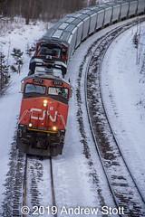 Under the overpass (awstott) Tags: emd 2273 electromotivedivision canadiannationalrailway es44dc cnr canada train alberta sd75i locomotive 5677 generalelectric cn ge yellowheadcounty ca