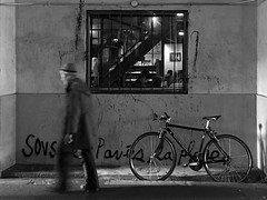 low autumn sun (peaceblaster9) Tags: street cafe bicycle bike man osaka japan 大阪 カフェ iphone city urbanexplorations ガード下