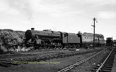 Stranraer 45254 en route to Stranraer Harbour passing shed throat 18Jul63 img920 (Ernies Railway Archive) Tags: stranraerstation gswr cr portroad lms scotrail ppwjr